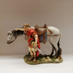 Roman soldier with horse 13 cm