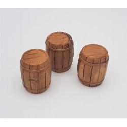 3 plastic barrels