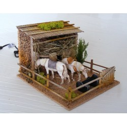 Horses in the stable moving...